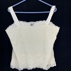 Coldwater Creek Women XL Ivory Floral Lace Top